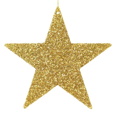 Golden glittering star shaped Christmas ornament isolated on pure white background
