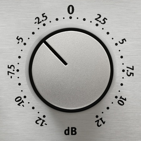 Studio closeup of a metallic volume knob with numbers from -12 to 12 dB