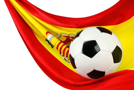 Soccer ball on a Spanish flag hanging in a spiffy way as a symbol for Spain
