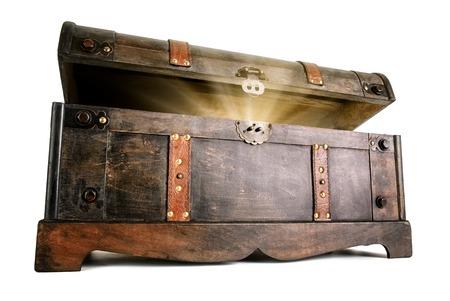 Vintage treasure chest opens to reveal a luminous but hidden secret