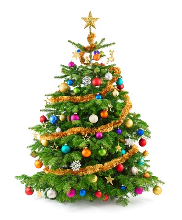 Joyful studio shot of a Christmas tree with colorful ornaments, isolated on white