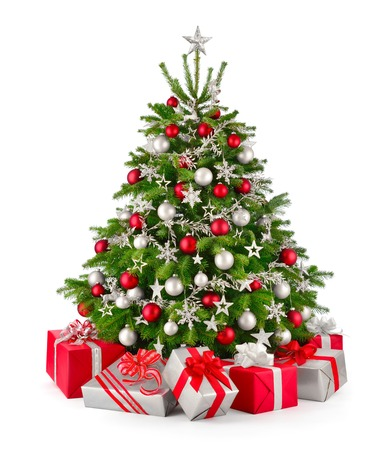 Photo for Gorgeous natural Christmas tree with red and silver gray ornaments and matching gift boxes, studio isolated on white background - Royalty Free Image