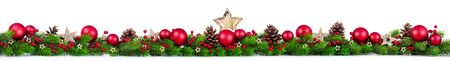 Photo pour Extra wide Christmas border with fir branches, red and silver baubles, pine cones and other ornaments, isolated on white - image libre de droit