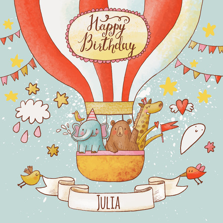 Foto de Lovely happy birthday card in bright summer colors. Sweet animals: elephant, bear and giraffe in air balloon in the sky. Awesome personalized childish background in vector - Imagen libre de derechos