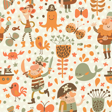 Foto de Lovely pirates in cartoon seamless pattern. Sweet background with pirates, flowers, ship, whale, crab and octopus. Awesome seamless pattern in vector - Imagen libre de derechos