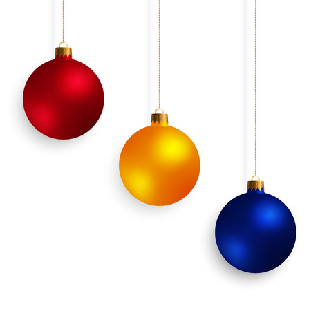 Set of Decorative Design Elements Christmas Balls Isolated on White Background. Kit of Yellow, Red, Blue New Year Baubles.