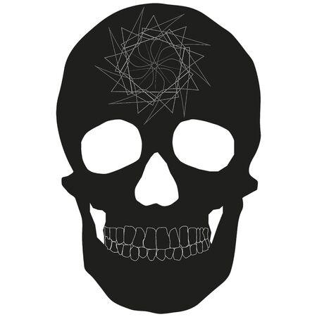 Human skeleton icon with abstract design on forehead