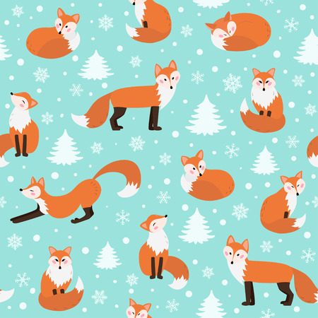 Illustration for Winter fox seamless pattern - Royalty Free Image