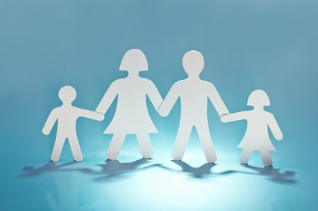 paper family on blue background
