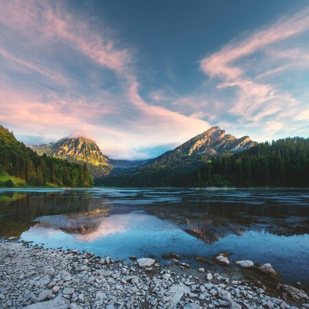 Photo for Peaceful summer view on Obersee lake in Swiss Alps. - Royalty Free Image