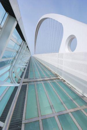 A modern Calatrava bridge in Reggio Emilia Italy