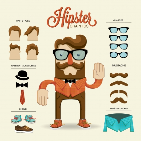 Illustration for Hipster character, vector illustration with hipster elements and icons - Royalty Free Image