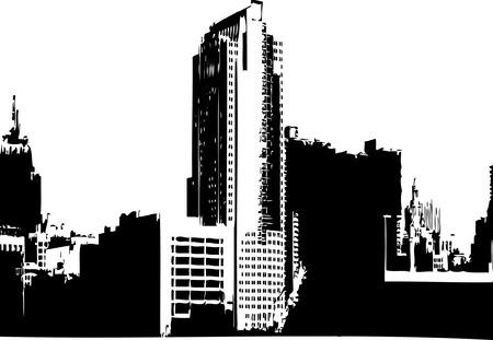CITY GRAPHICS - CITY SKYLINE MONOCHROME IMAGE