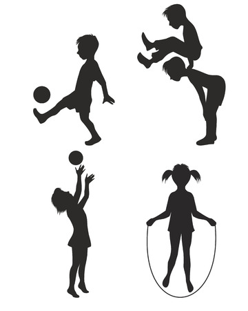illustration of playing children silhouette