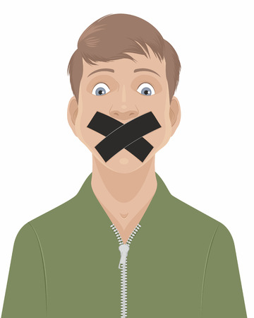 Vector illustration of a man with a taped mouth