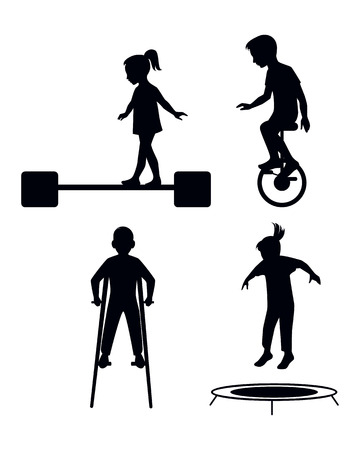 Vector illustration of a children playing silhouettes