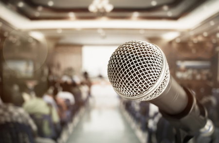 Photo pour close-up microphone for speech and teaching  at meeting room, conference hall in school, business and education concept - image libre de droit