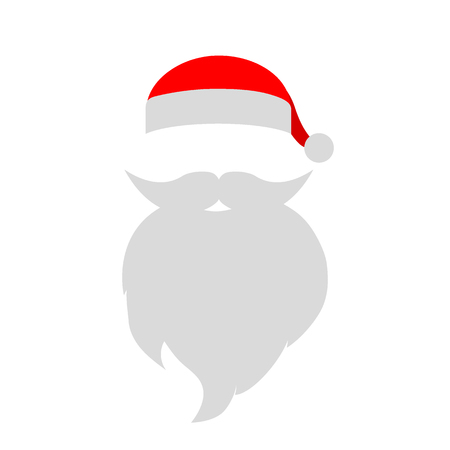 Cap And Mustache With A Beard Of Santa Claus On A White Background