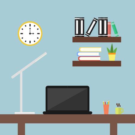 Illustration pour A desktop with a laptop and a desk lamp in the office. Flat design icons - image libre de droit