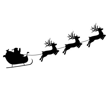 Ilustración de Christmas reindeers are carrying Santa Claus in a sleigh with gifts. - Imagen libre de derechos