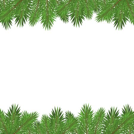 Illustration pour Green christmas tree branches isolated on white background. - image libre de droit