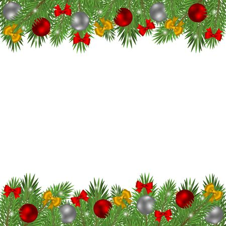 Illustration for Christmas tree branches decorated with balls and red bows isolated on a white background. - Royalty Free Image