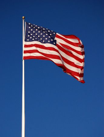 American flag flapping, with clear sky background, vertical