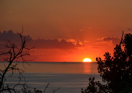Sunset over Lake Michigan from Mt. Baldy sand dune, Indiana Dunes National Lakeshore