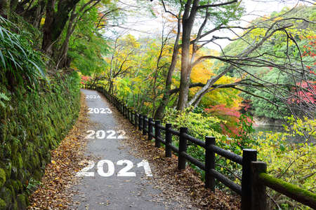 Photo pour New year 2021 to 2024 on walkway in the mountain with maple trees, happy new year concept and natural background idea - image libre de droit