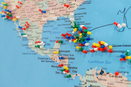 buttons on the Cuba on the world map, soft focus ...