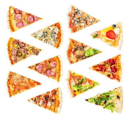 set of Different slices of pizza isolated on white. Delicious fr