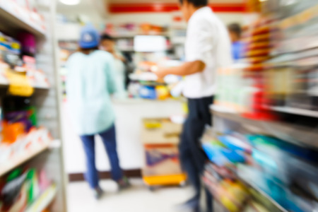 Photo pour Blurry convenience store shot by moving camera with slow shutter speed - image libre de droit