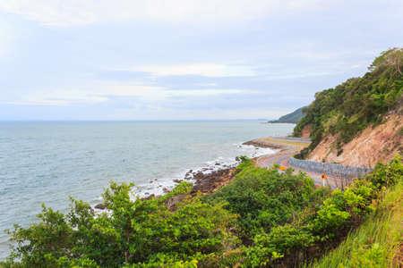 Coastal road sea at Khung Viman bay, Chanthaburi, Thailand