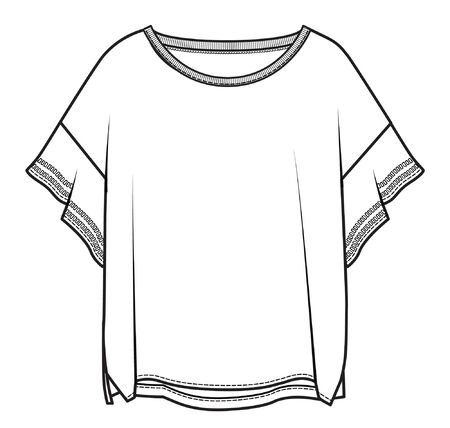 Illustration for women's apparel template, flat sketch - Royalty Free Image