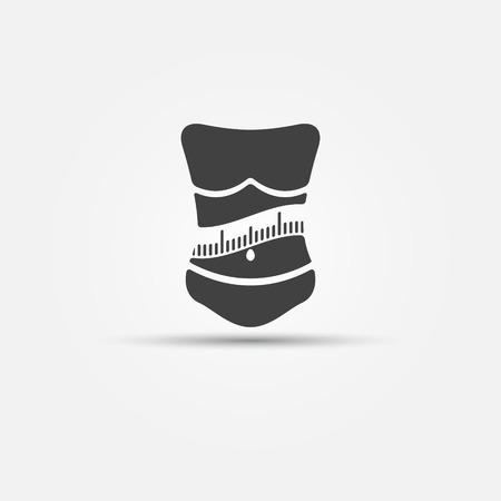 Weight loss icon - woman with measuring tape fitness logo or symbol