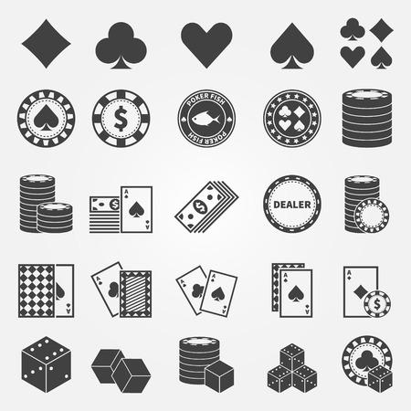Poker icons set - vector playing cards or gambling casino symbols