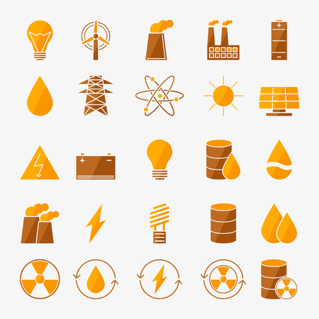 Energy icon set - vector yellow power symbols in flat style
