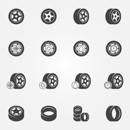 Tire icons set - vector wheel tyre symbols and logos