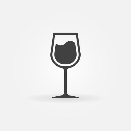 Glass of wine vector icon - black symbol or logo