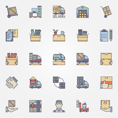 Moving icons set - vector concept colorful signs and symbols of house or office moving