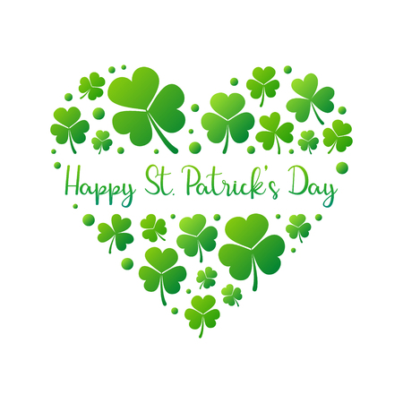 Illustration pour Happy St. Patrick's Day vector heart on white background - image libre de droit