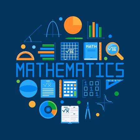 Illustration for Mathematics circular flat illustration with math symbol. - Royalty Free Image