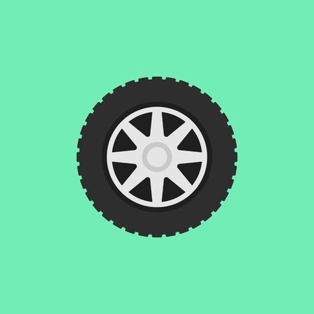 Car flat wheel with tire vector icon on green background.