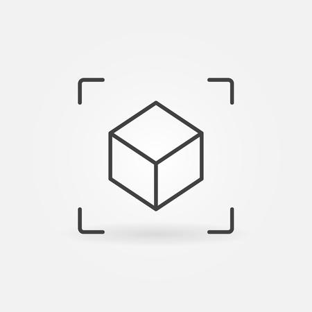 Illustration pour AR Cube linear icon. Vector augmented reality symbol - image libre de droit