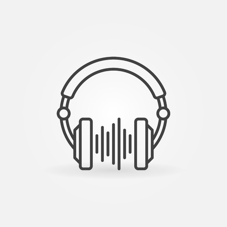DJ Headphones with sound wave vector creative line icon