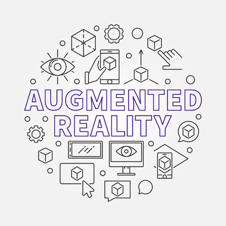 Augmented reality round vector outline illustration