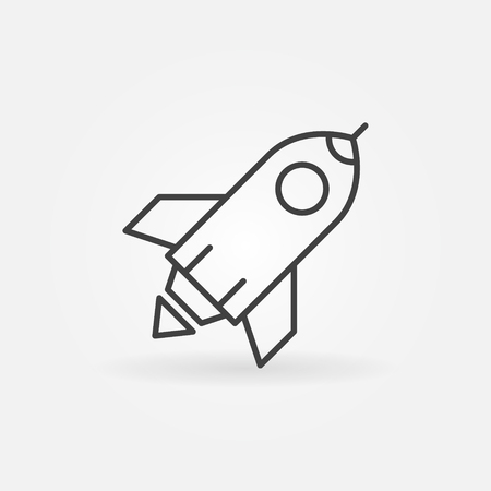 Rocket outline vector icon. Start Up sign in thin line style