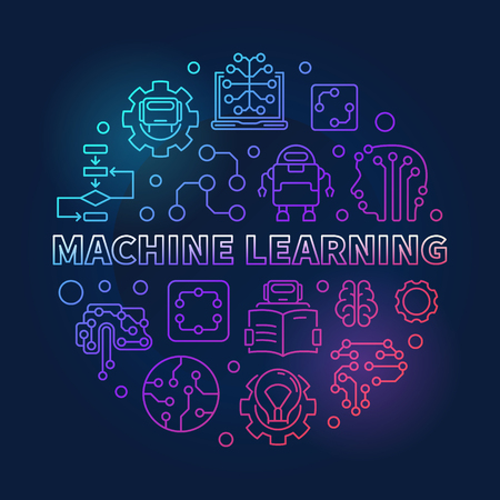 Machine Learning Round Vector Colored Outline Illustration Royalty