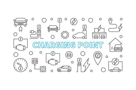 Illustration pour Charging point illustration. Vector EV charge point banner - image libre de droit