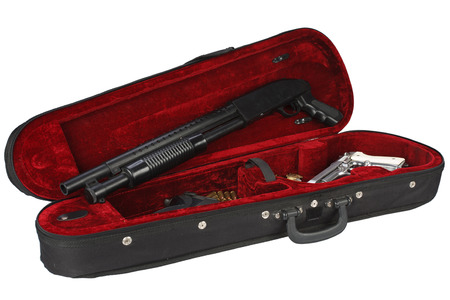 weapons with cartridges in violin case isolated on white background